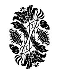 Black and white flower silhouette. Vector illustration