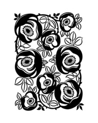 Floral ornament on white background. Vector illustration