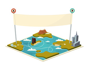 Map with banner. Vector illustration.