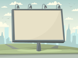 Billboard witn city background. Vector illustration.