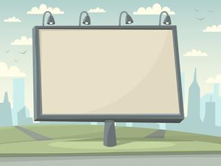Billboard witn city background. Vector illustration.