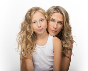 Beautiful blonde woman and her daughter together