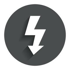 Photo flash sign icon. Lightning symbol.