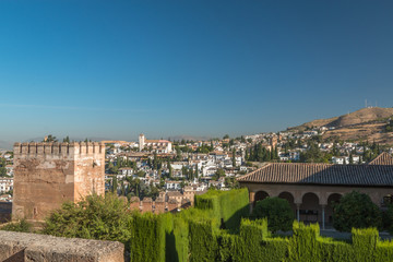 View of Walls of Alhambra palace and old town of Granada