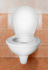 Toilet bowl on the wall. Picture with clipping path.