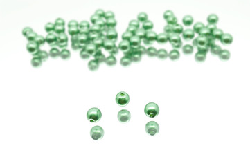 Collection Of Green Glass Wax Beads