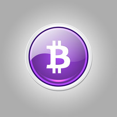 Bit Coin Currency Sign Shiny Vector Web Icon Button