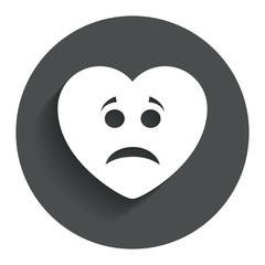 Sad heart face sign icon. Sadness symbol.