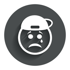 Sad rapper face with tear icon. Crying symbol.