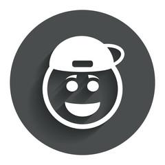 Smile rapper face icon. Smiley symbol.