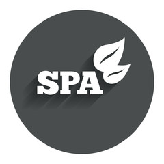 Spa sign icon. Spa leaves symbol.