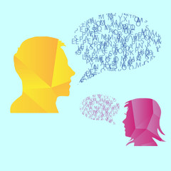 Man and woman speech bubble concept