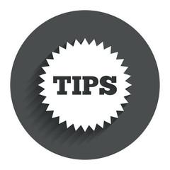 Tips sign icon. Star symbol.