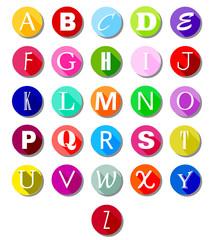 Alphabet on multicolor circles -flat