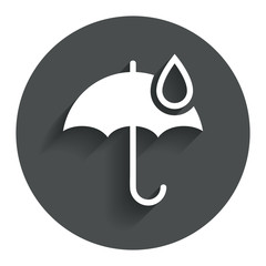 Umbrella sign icon. Water drop symbol.