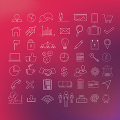 49 modern line icon set: business, web, mobile