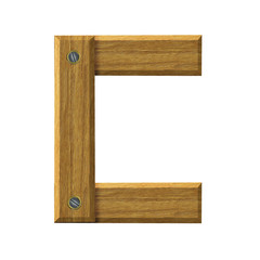 Letter C in created in wood