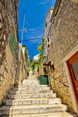 Hvar old stone street view