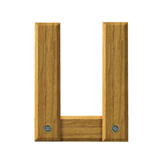Letter U in created in wood
