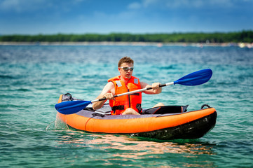 kayak on the sea