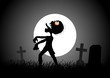 Halloween theme with zombie walking on cemetery