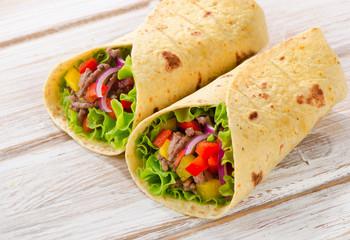 tortilla wraps .Selective focus