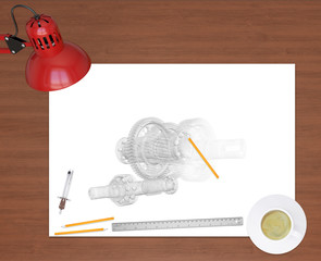 Engineering drawing and office supplies on background of wooden