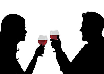 Silhouette of a man and woman having a glass of wine