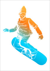 Colorful figure of a snow boarder