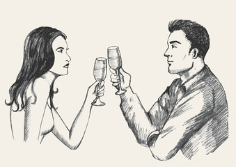 Sketch illustration of a man and woman toasting