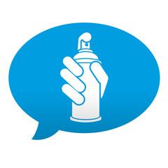Etiqueta tipo app azul comentario simbolo aerosol