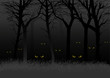 Scary eyes staring and lurking from dark woods - 70166280