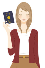 パスポートを持った困る表情の女性