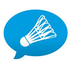 Etiqueta tipo app azul comentario simbolo badminton