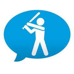 Etiqueta tipo app azul comentario simbolo beisbol