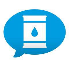Etiqueta tipo app azul comentario simbolo bidon de petroleo