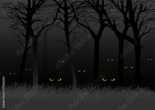 Scary eyes staring and lurking from dark woods
