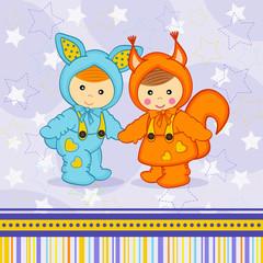 baby boy girl dressed as rabbit squirrel - vector eps
