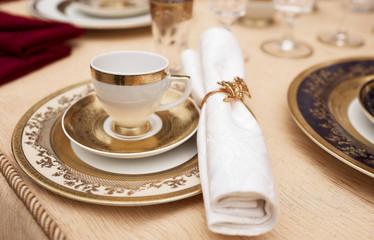 Set of fine bone porcelain dishware