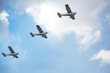 Air show, flying together