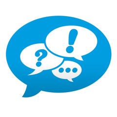 Etiqueta tipo app azul comentario simbolo red social