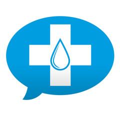 Etiqueta tipo app azul comentario donacion de sangre