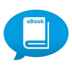 Etiqueta tipo app azul comentario simbolo eBook