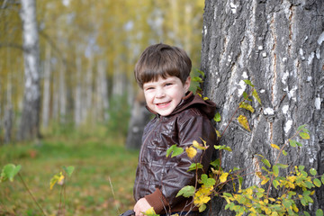 little boy at a birch in an autumn forest