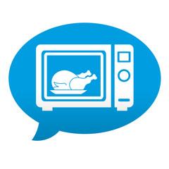Etiqueta tipo app azul comentario simbolo pollo asado