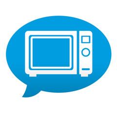 Etiqueta tipo app azul comentario simbolo horno