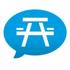 Etiqueta tipo app azul comentario simbolo picnic