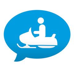Etiqueta tipo app azul comentario simbolo moto de nieve