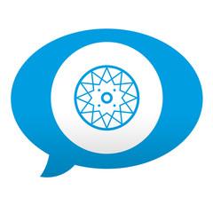 Etiqueta tipo app azul comentario simbolo neumatico