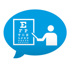 Etiqueta tipo app azul comentario simbolo oculista